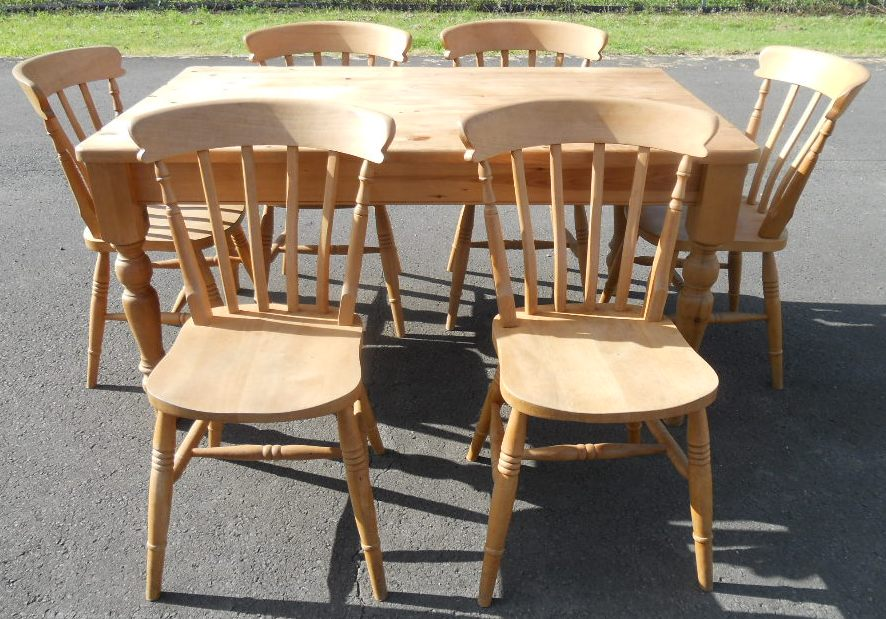 Pine Kitchen Table And Chairs Sold victorian style pine kitchen table six chairs workwithnaturefo